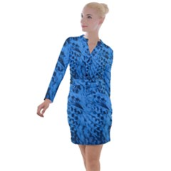 Blue Feather Button Long Sleeve Dress by chihuahuadresses