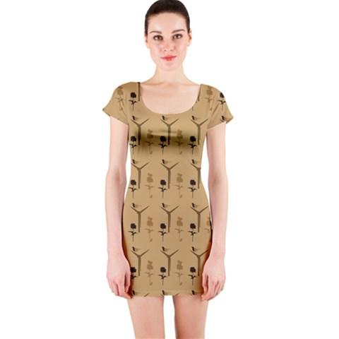 Birds And Fields Short Sleeve Bodycon Dress
