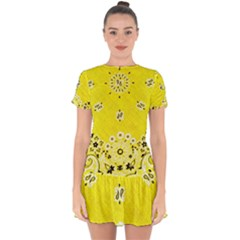Grunge Yellow Bandana Drop Hem Mini Chiffon Dress by dressshop