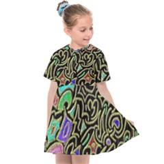 Swirl Retro Abstract Doodle Kids  Sailor Dress