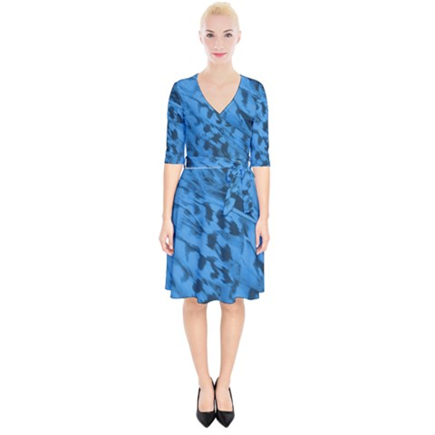 Blue Feathers Wrap Up Cocktail Dress