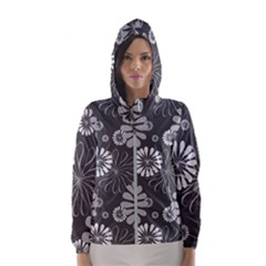 Floral Pattern Hooded Windbreaker (women) by Hansue