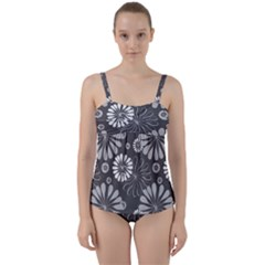 Floral Pattern Twist Front Tankini Set by Hansue