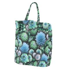 Blue Green Dahlia Collage Giant Grocery Tote by bloomingvinedesign