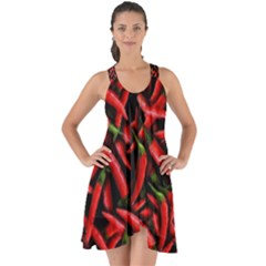 Red Chili Peppers Pattern Show Some Back Chiffon Dress by bloomingvinedesign