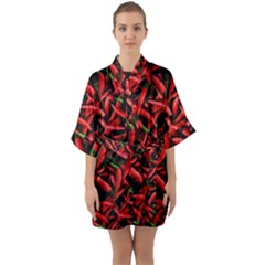 Red Chili Peppers Pattern Quarter Sleeve Kimono Robe by bloomingvinedesign