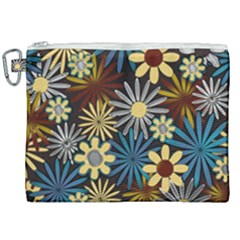 Earthy Daisies Collage Canvas Cosmetic Bag (xxl) by bloomingvinedesign