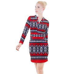 Decoration Pattern Style Retro Button Long Sleeve Dress