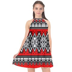 Decoration Pattern Style Retro Halter Neckline Chiffon Dress  by Nexatart