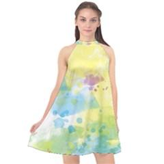 Abstract Pattern Color Art Texture Halter Neckline Chiffon Dress