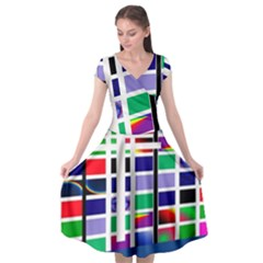 Color Graffiti Pattern Geometric Cap Sleeve Wrap Front Dress