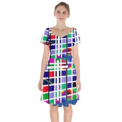 Color Graffiti Pattern Geometric Short Sleeve Bardot Dress by Nexatart