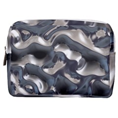 Silver Liquid Metallic Texture Make Up Pouch (medium) by bloomingvinedesign