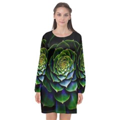 Nature Desktop Flora Color Pattern Long Sleeve Chiffon Shift Dress