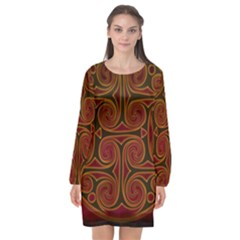 Beautiful Art Pattern Long Sleeve Chiffon Shift Dress  by Nexatart