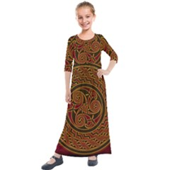 Beautiful Art Pattern Kids  Quarter Sleeve Maxi Dress by Nexatart