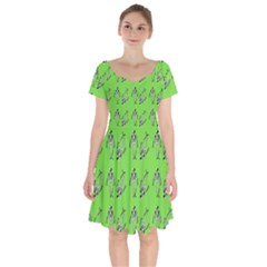 Skeleton Green Short Sleeve Bardot Dress by snowwhitegirl