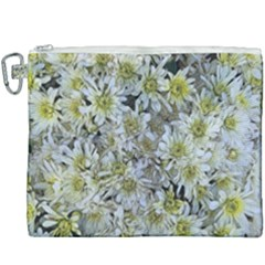 White Mums Canvas Cosmetic Bag (xxxl) by bloomingvinedesign