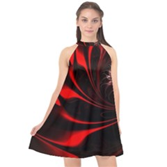 Red Black Abstract Curve Dark Flame Pattern Halter Neckline Chiffon Dress