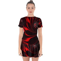Red Black Abstract Curve Dark Flame Pattern Drop Hem Mini Chiffon Dress