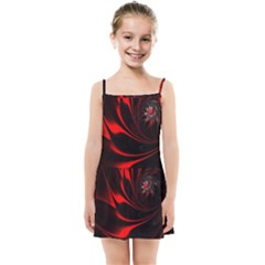 Red Black Abstract Curve Dark Flame Pattern Kids Summer Sun Dress