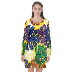 Design Decoration Decor Pattern Long Sleeve Chiffon Shift Dress