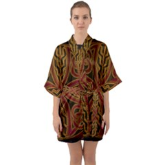 Beautiful Art Pattern Quarter Sleeve Kimono Robe by Nexatart