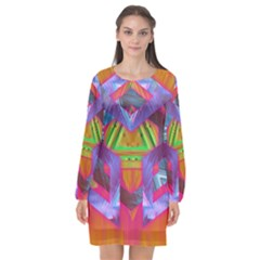 Glitch Glitch Art Grunge Distortion Long Sleeve Chiffon Shift Dress
