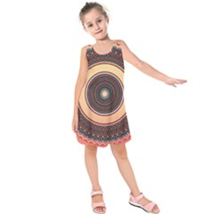 Ornamental Shape Concentric Round Kids  Sleeveless Dress