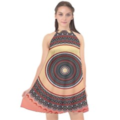 Ornamental Shape Concentric Round Halter Neckline Chiffon Dress  by Nexatart