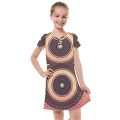 Ornamental Shape Concentric Round Kids  Cross Web Dress by Nexatart
