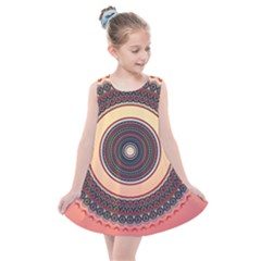 Ornamental Shape Concentric Round Kids  Summer Dress by Nexatart