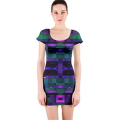 Abstract Pattern Desktop Wallpaper Short Sleeve Bodycon Dress