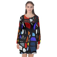 Art Bright Lead Glass Pattern Long Sleeve Chiffon Shift Dress  by Nexatart