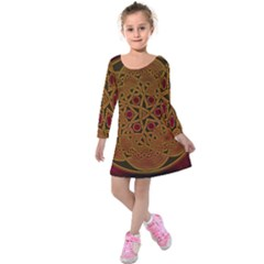 Beautiful Art Pattern Kids  Long Sleeve Velvet Dress