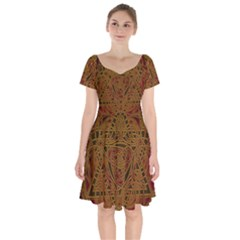 Beautiful Art Pattern Short Sleeve Bardot Dress