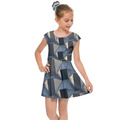 3d Pattern Texture Form Background Kids Cap Sleeve Dress by Nexatart