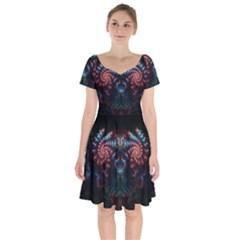 Background Texture Pattern Short Sleeve Bardot Dress