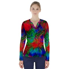 Color Art Bright Decoration V Neck Long Sleeve Top
