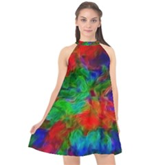 Color Art Bright Decoration Halter Neckline Chiffon Dress  by Nexatart
