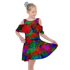 Color Art Bright Decoration Kids  Shoulder Cutout Chiffon Dress by Nexatart