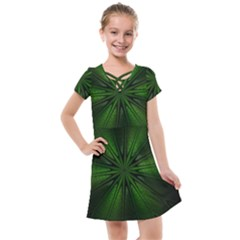 Green Fractal Art Artistic Pattern Kids  Cross Web Dress by Nexatart