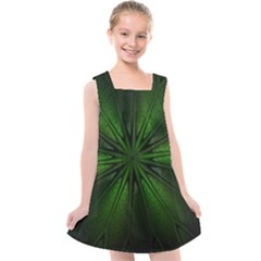Green Fractal Art Artistic Pattern Kids  Cross Back Dress by Nexatart