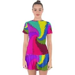 Art Abstract Pattern Color Drop Hem Mini Chiffon Dress