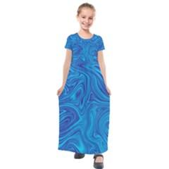 Blue Abstract Pattern Art Shape Kids  Short Sleeve Maxi Dress by Nexatart