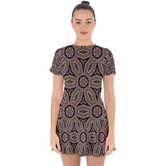 Pattern Decoration Abstract Drop Hem Mini Chiffon Dress by Nexatart