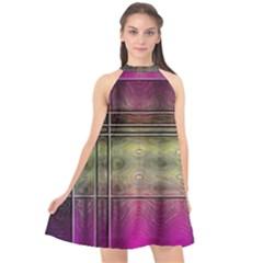 Abstract Desktop Pattern Wallpaper Halter Neckline Chiffon Dress  by Nexatart