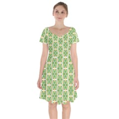 Pattern Abstract Decoration Flower Short Sleeve Bardot Dress by Nexatart