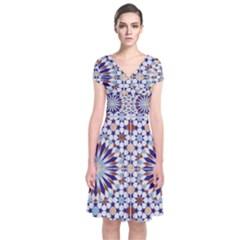 Morocco Essaouira Tile Pattern Short Sleeve Front Wrap Dress