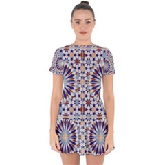 Morocco Essaouira Tile Pattern Drop Hem Mini Chiffon Dress by Nexatart